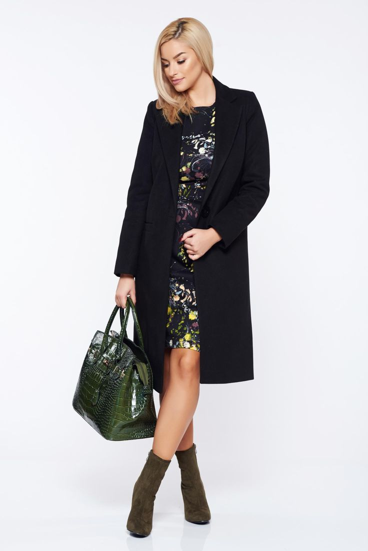 Casual straight LaDonna black coat with pockets, with pockets, inside lining, women`s coat, non elastic fabric