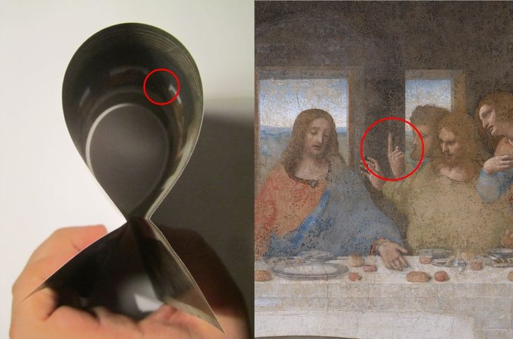 The Last Supper can be folded just like Mona Lisa. Now the finger pointing to the sky at last has a decent explanation.