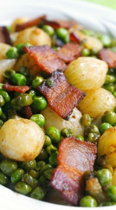 Pearl Onions, Peas, and Bacon....made these for dinner last night and left out the brown sugar....it just didnt sound appealing.  Yummy!
