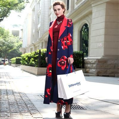 Ladies Floral Print Maxi Trench Coat Plus Size Long Overcoats Size 8-18