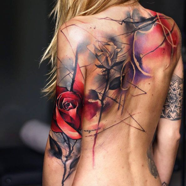Abstract floral back piece by Uncl Paul Knows