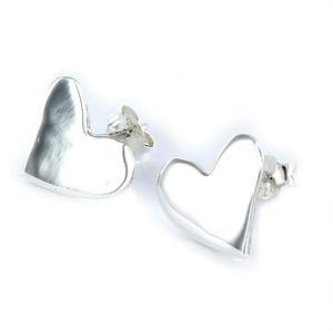 Pendiente Love de plata corazón irregular de 12 mm con cierre de presión