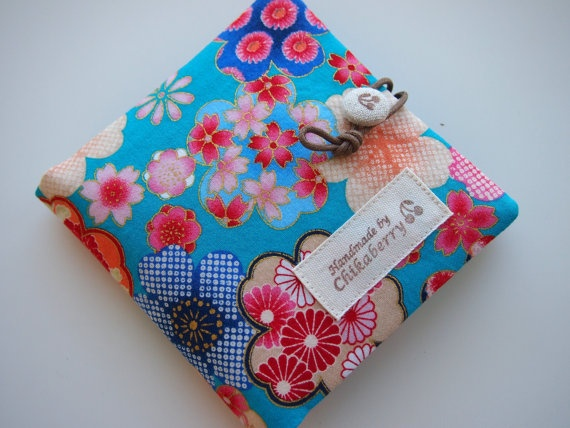 Sanitary Pouch  Kimono Pattern BLUE  by Chikaberry on Etsy, $12.00