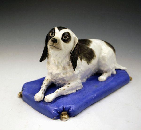 STAFFORDSHIRE FIGURE OF A SPANIEL DOG BY COPELAND GARRETT
