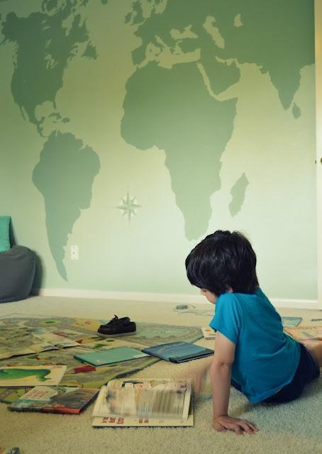 Young Explorer Reading Map Wallpapermap Wall