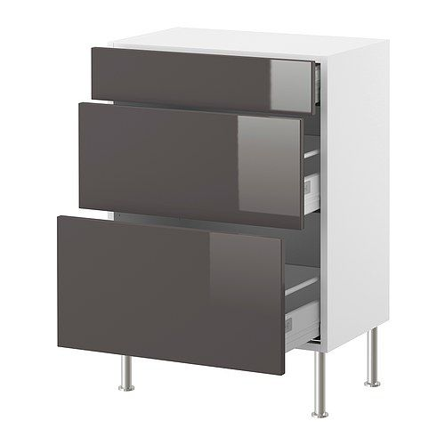 FAKTUM Base cabinet with 3 drawers - Abstrakt grey, 40x37 cm - IKEA