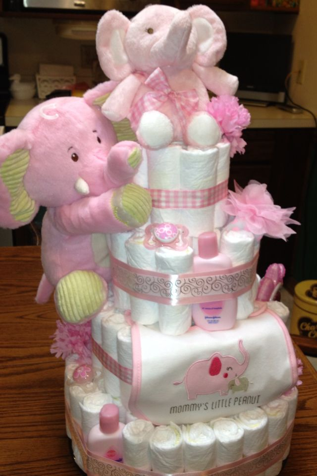 Pink elephant diaper cake my fun projects pinterest for Baby shower decoration ideas with diapers