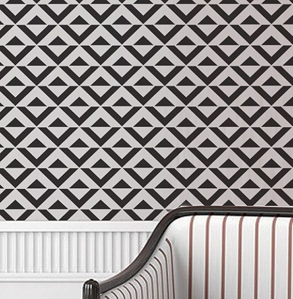 Wall Stencil Geometric Chevron Zig Zag Arrow Geometric Pattern Wall Room Decor Made by OMG Stencils Home Improvements Color Paintings 0053