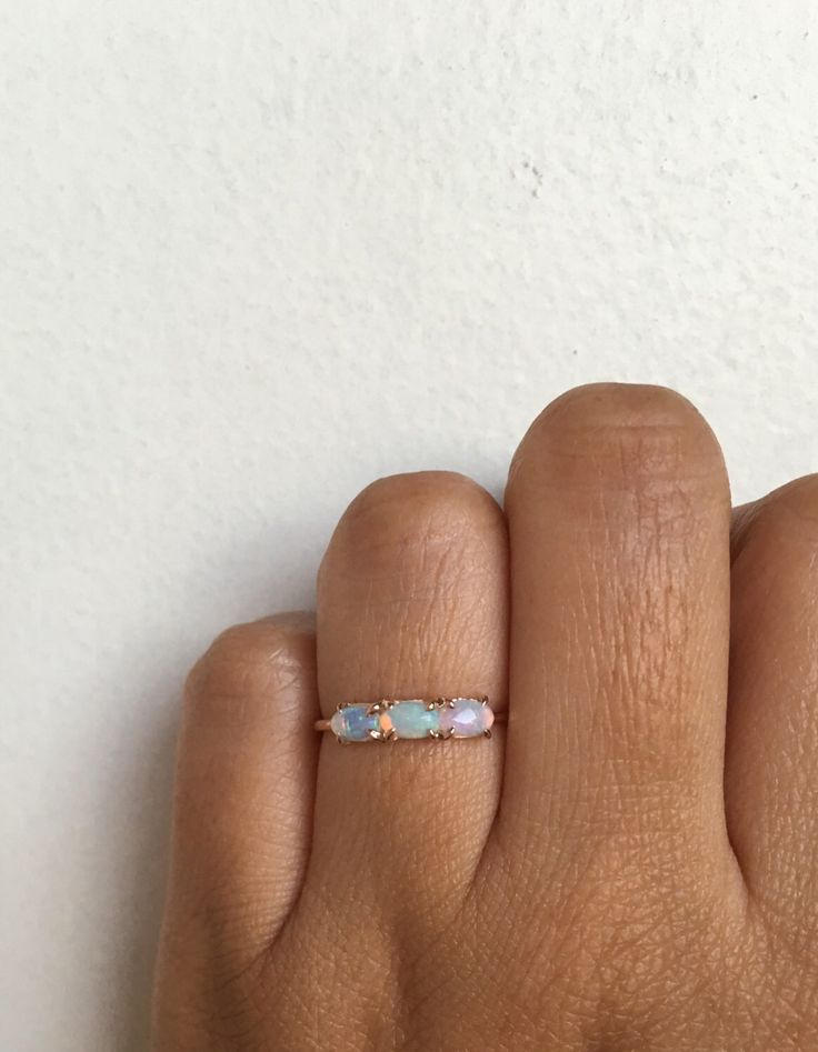 Past Present Future Ring, Opal Ring, Opal Engagement Ring, Opal Wedding Ring, Opal Band, Opal Wedding Band, Three Stone Ring, Trinity Ring by charlieandmarcelle on Etsy https://www.etsy.com/listing/470048182/past-present-future-ring-opal-ring-opal