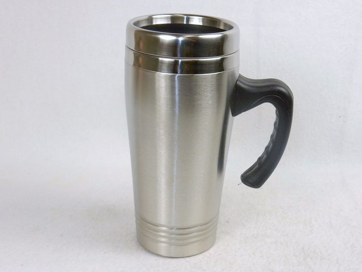 Stainless Steel Drink Mug W/Handle, Press On Lid, Fits Car Drink Holder ~ #Dm99