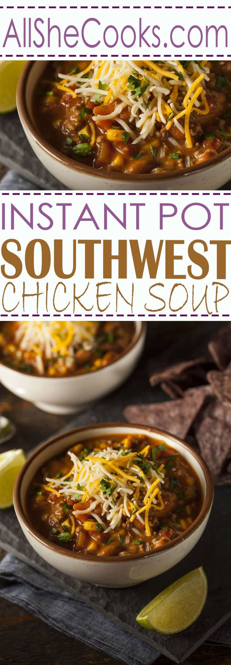 Instant Pot Southwestern Chicken Soup recipe is a healthy chicken soup recipe perfect for healthy easy weeknight dinners and staying on a whole foods healthy diet. #instantpot #chickenrecipes #souprecipes