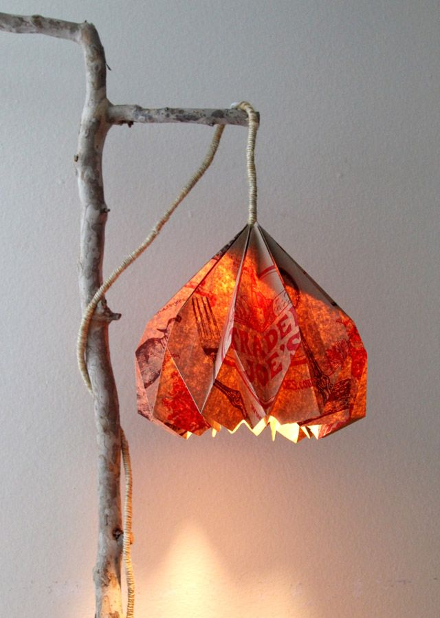 Free tutorial to make a paper pendant light