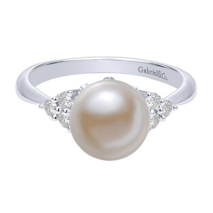 14k white gold classic pearl and diamond cluster ring from Mullen Jewelers