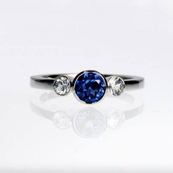 White Gold 1.18 ct Blue Tanzanite Gemstone14 k Dazzling Round Cut Wedding Ring #goldjewellery17 #Simulated