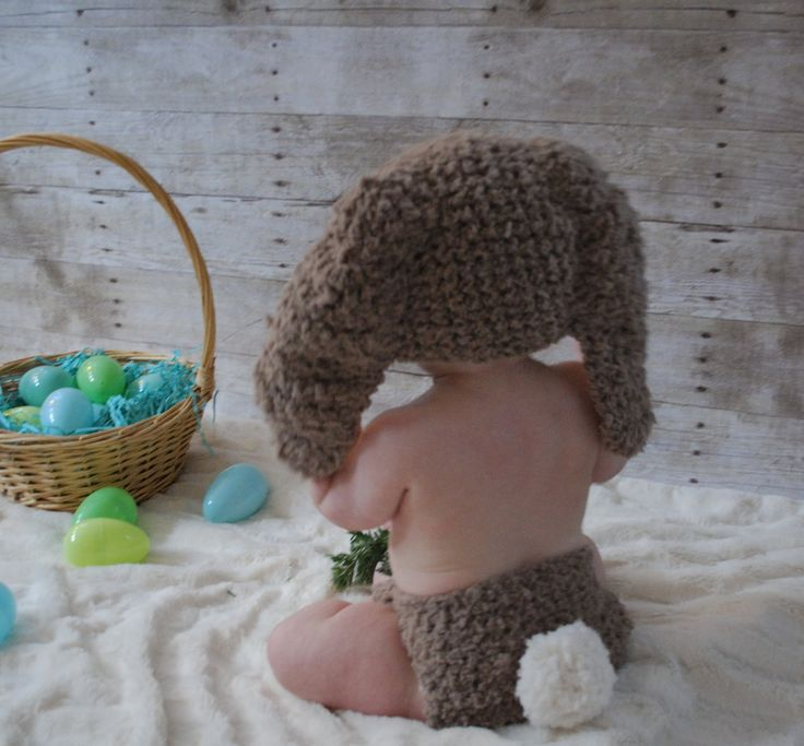 SUMMER SALE* Baby brown and cream bunny hat and with pom pom tail diaper cover (or choose your colours). Handmade with love by Babamoon   - Size 0 to 3m -   * Can be made in a choice of colours  * Can by made in sizes Preemie to Adult.  * Order now for Halloween!  * Get 20% off! minimum order applies ->