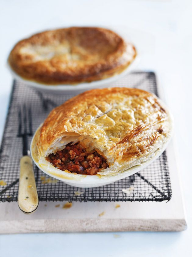 pork and chorizo bolognese pies from donna hay