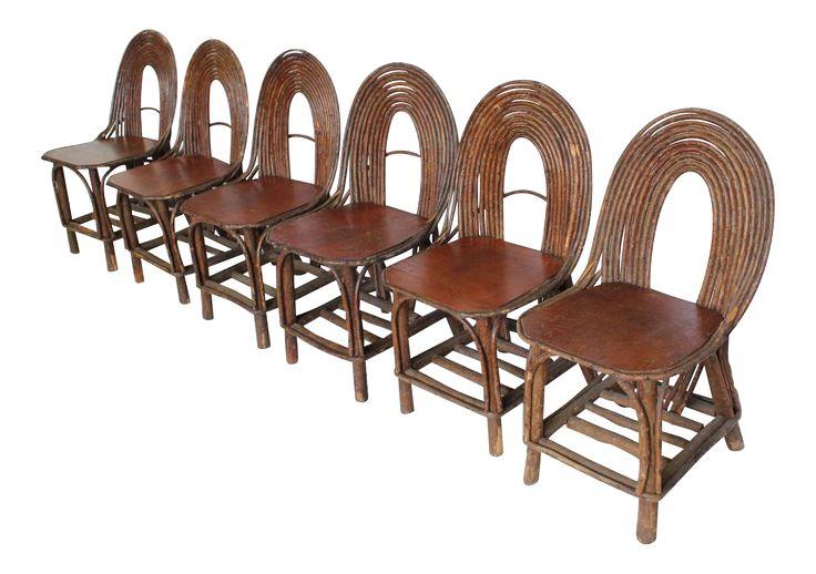 Stylish Antique Adirondack Chairs, Set of Six on DECASO.com