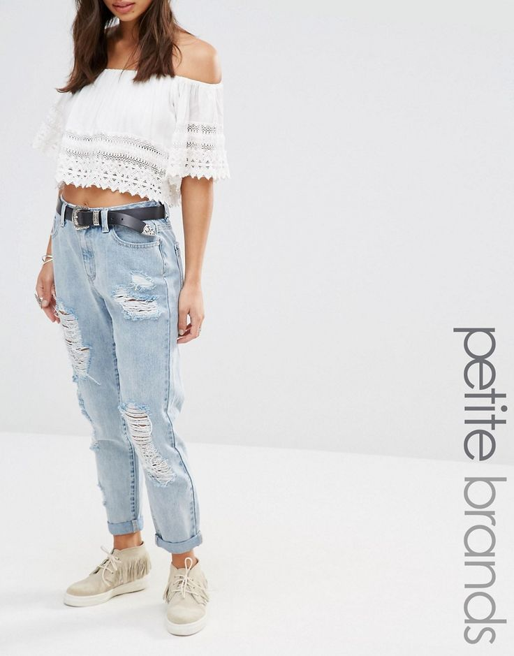 Image 1 ofMissguided Petite Riot Open Rip Mom Jeans