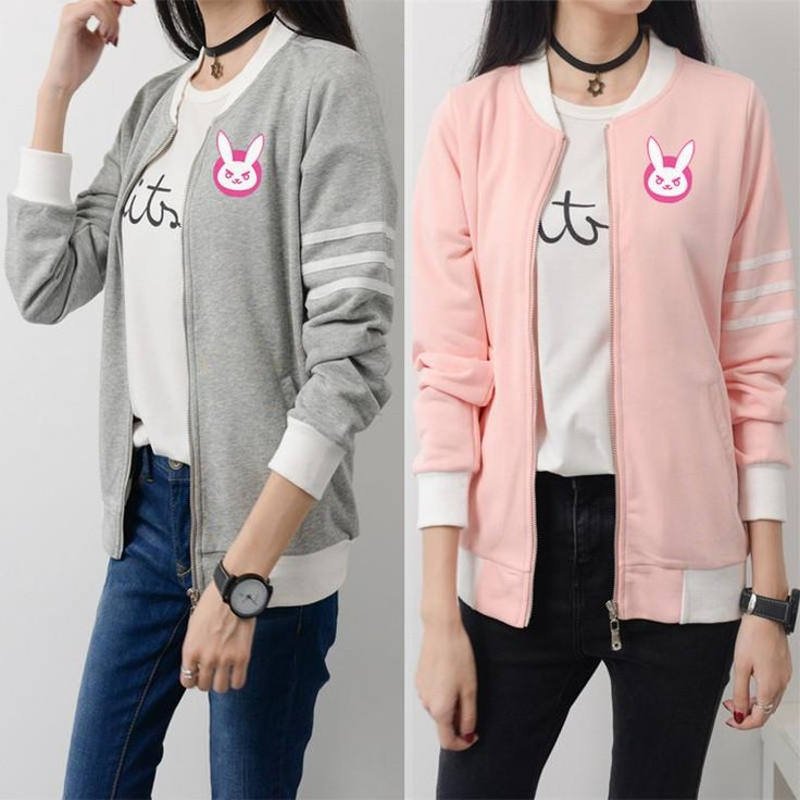 Pink/Grey Overwatch D.VA Casual Baseball Jacket SP168339