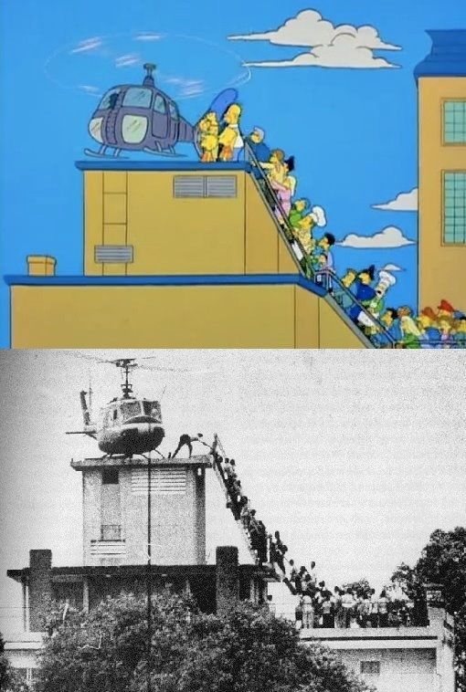 Reenactments Of 12 Famous Photos On The Simpsons, The iconic photo of fleeing Americans during the fall of Saigon.