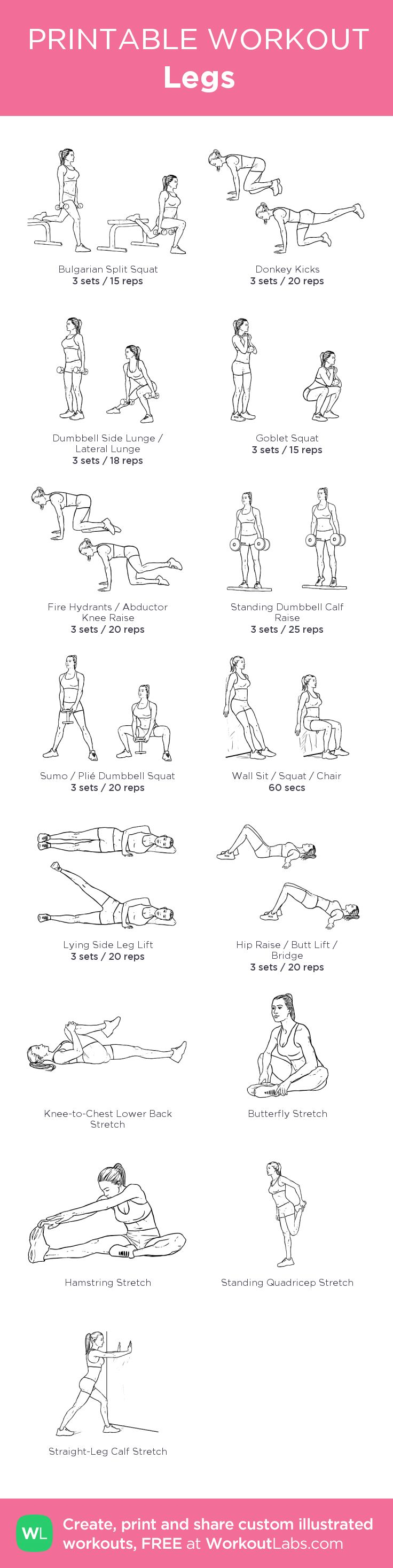 Legs –my custom workout created at WorkoutLabs.com • Click through to download as printable PDF! #customworkout