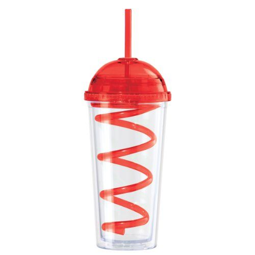 Oggi 7340.2 Double Walled Tumbler with Domed Lid and Spiral Drinking Straw, 20-Ounce, Red Oggi