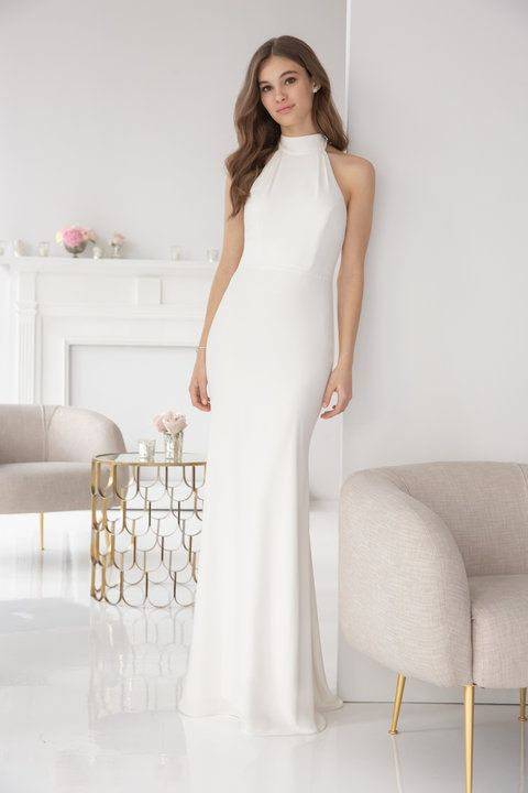 61c8eeb74379 Style 5900 | Hayley Paige Occasions bridesmaids gown - Ivory crepe A-line  gown, racer mock turtleneck, natural waist, strap detail at back.