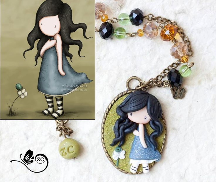 polymer clay necklace / fairy/ fimo/ clay / by ZingaraCreativa