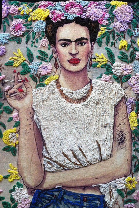 FRIDA Kahlo T-shirt_Frida Kahlo cigarette tshirt_painting T-shirt by Quortshirts