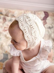 Knitting pattern for Jasmine Baby bonnet lace baby hat takes one skein of yarn