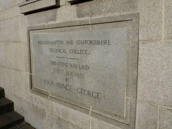 University of Wolverhampton foundation stone.