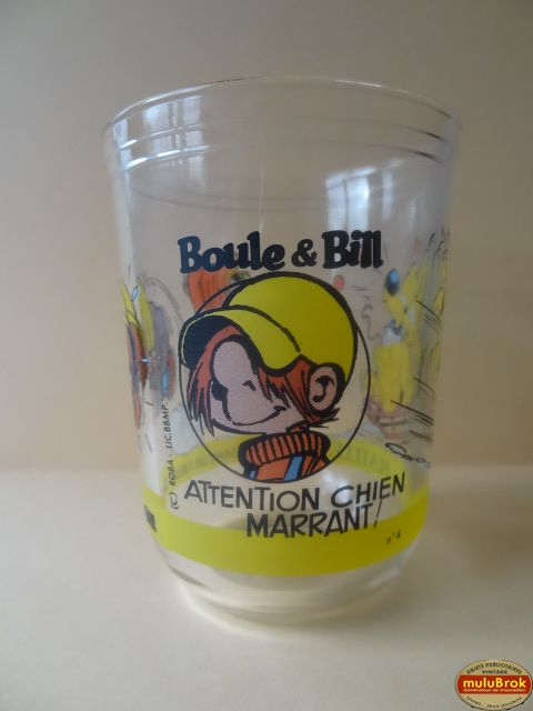Verre Moutarde Maille ... BOULE & BILL ** Attention Chien Marrant