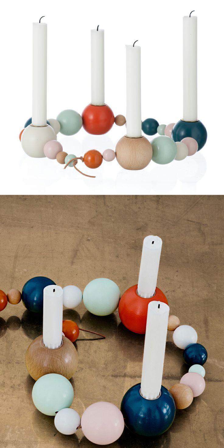 Wooden bead candle holder - DIY idea