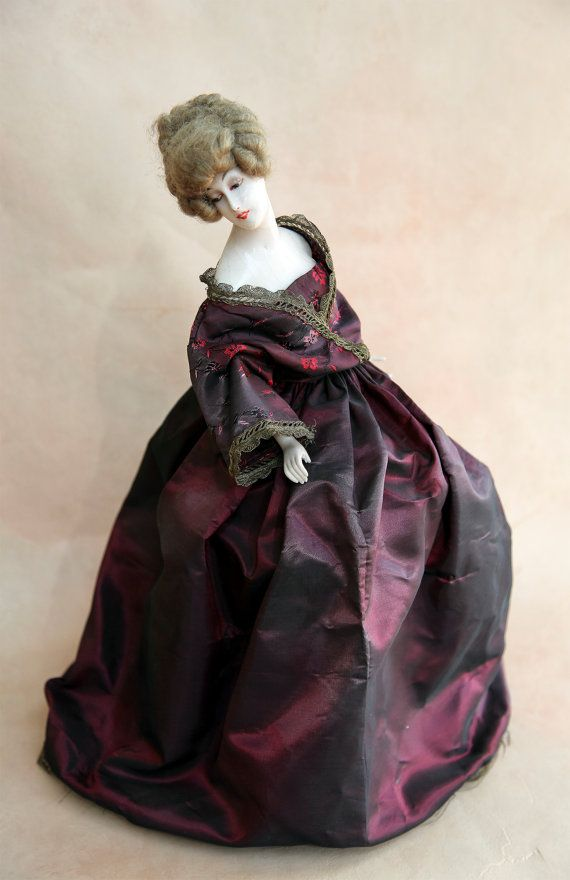 Boudoir Doll Lamp Vintage Victorian Doll Antique Wax by