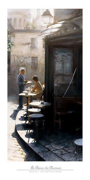 Au Clairon des Chasseurs Andrei Krioutchenko Print Landscape Paris Cafes Poster