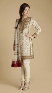 By: Ritu Kumar, cream & red georgette #suite accentuated with delicate #zardozi work. #myfashioncart