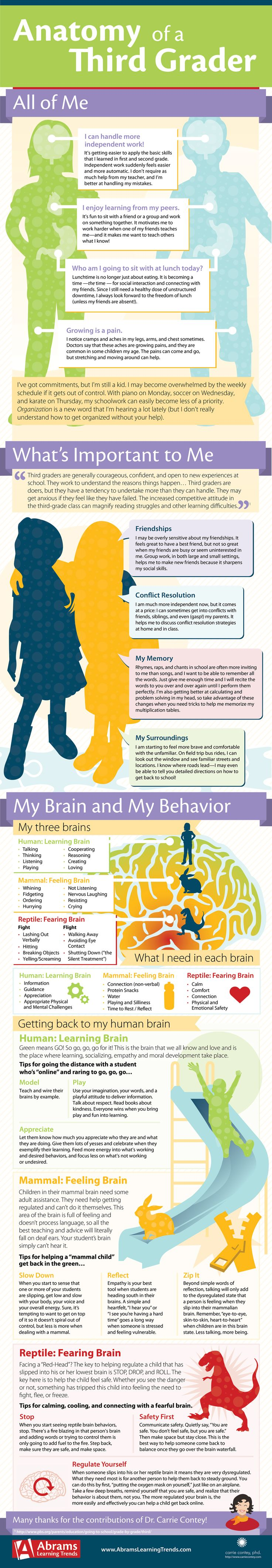 #Infographic with physical, social, cognitive, and emotional norms for #thirdgrade. So helpful! While third graders are eager to exert their own self-reliance, doing so comes with new levels of conflict with friends (and parents!).
