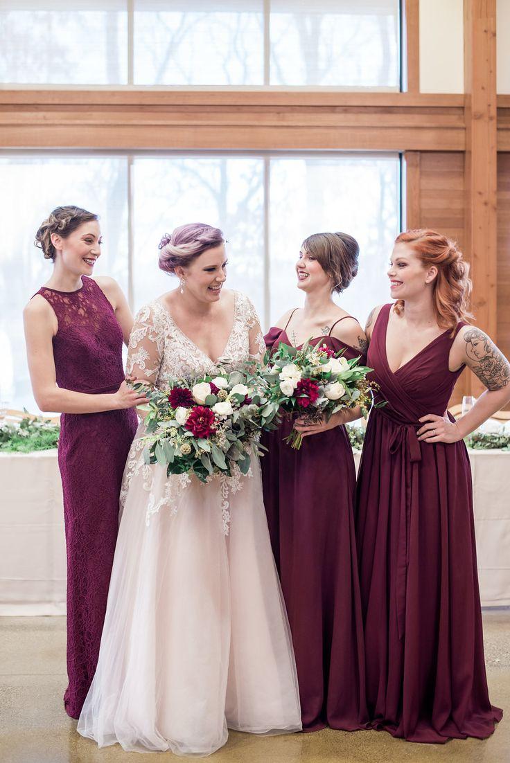 Winter wedding styled shoot at Silverwood Park. Floral designed by Minneapolis wedding florist Artemisia Studios. Photo by iris Studios Photography (https://www.irisstudiosphoto.com/)   #bride #bridesmaids #bridalbouquet #bouquet #flowers #weddingflowers #florist #burgundy #burgundywedding #winterwedding #minneapolisweddingflorist #minnesotaweddingflorist #Mnwedding #artemisiastudios