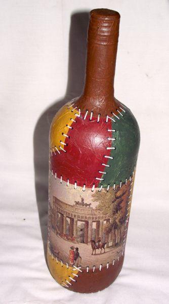 botella imitacion cuero
