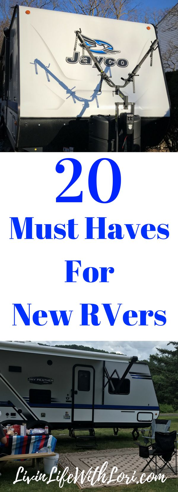 Check out these 20 Must Haves you need for camping in your new RV!  www.livinlifewithlori.com