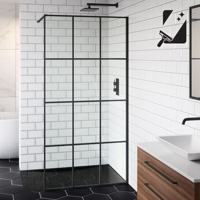 1000mm 8mm Designer Black Shoji Wetroom Panel Black Shower Doors Wet Room Shower Shower Screen