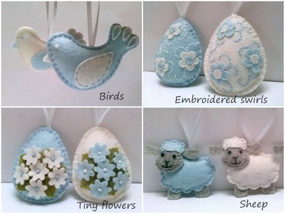 Baby blue Pasqua ornamenti decorazione di Pasqua di DusiCrafts