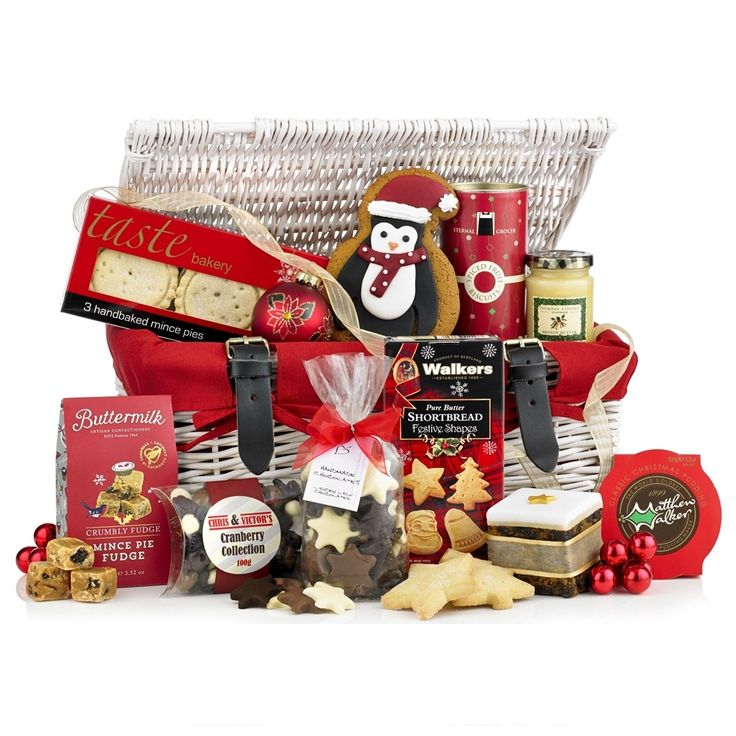 Christmas Gift Hamper Selection in a White Wicker Basket http://redhamper.co.uk/christmas-gift-hamper-selection-in-a-white-wicker-basket/ #seasonal #shoppingbaskets