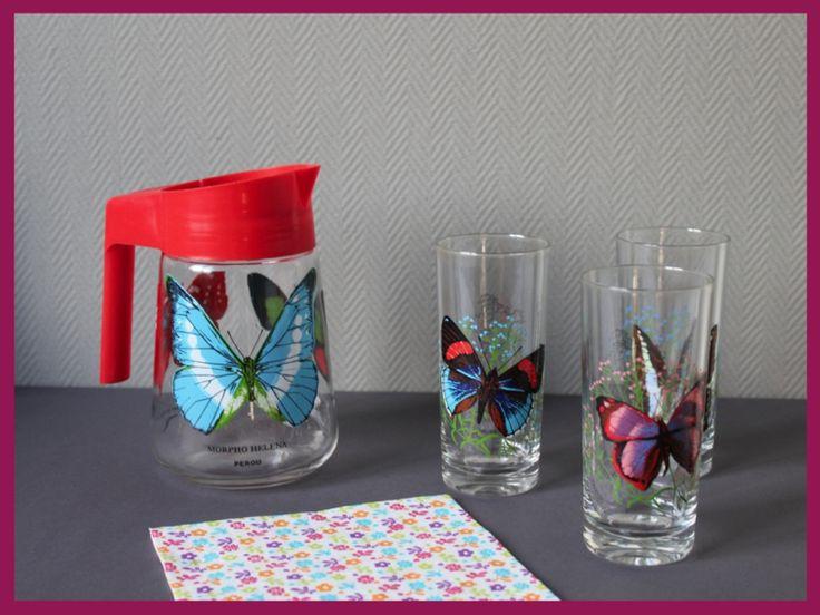 Service à orangeade décor papillons vintage