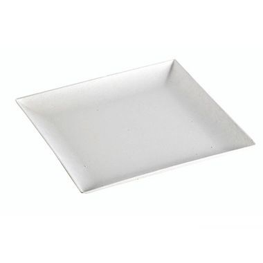 This Sugarcane Square Plate is white, and has a modern and stylish look that would work well in any elegant event. It is eco-friendly and biodegradable.
