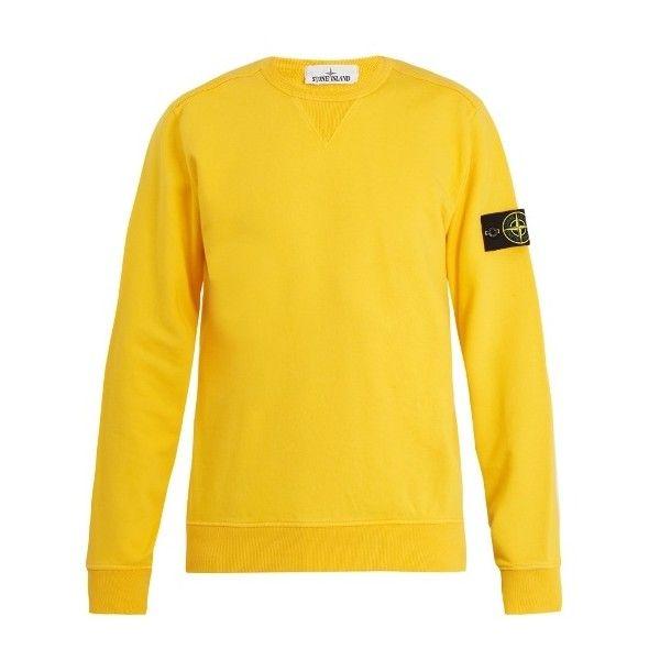 Stone Island Crew-neck cotton sweatshirt ($205) ❤ liked on Polyvore featuring men's fashion, men's clothing, men's hoodies, men's sweatshirts and stone island