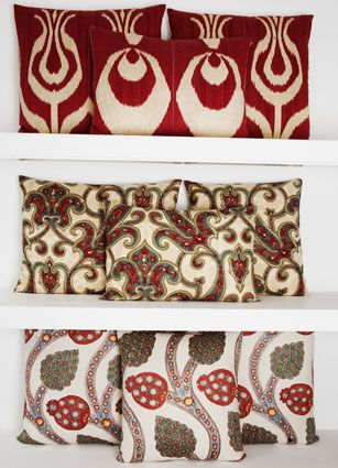 Rifat Ozbek's Ikat, Suzani and embroidered pillows
