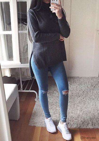 thanyaw is wearing lookbookstore grey high-low turtleneck sweater
