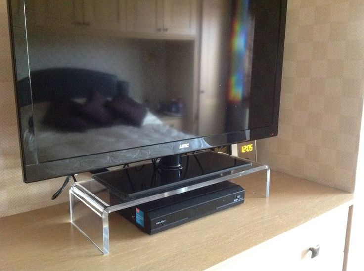 Designer Contemporary Clear Acrylic Perspex Monitor PC TV Stand ( Not Black ) in…