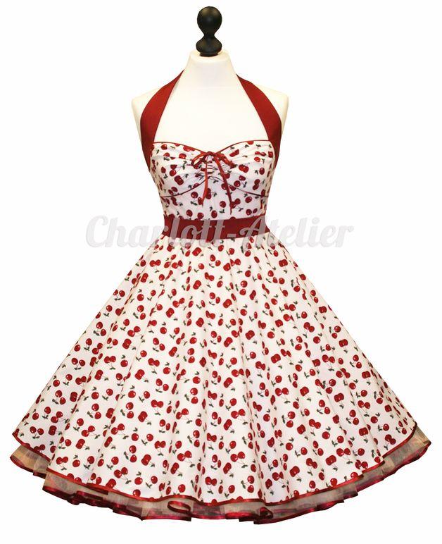 Spodnička šaty šaty Rockabilly 50s WHITE CHERRY